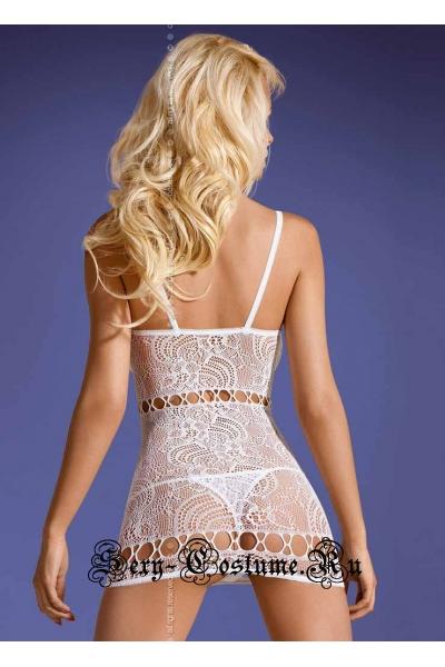 Капроновое белое платья с узором obsessive d208 dress white