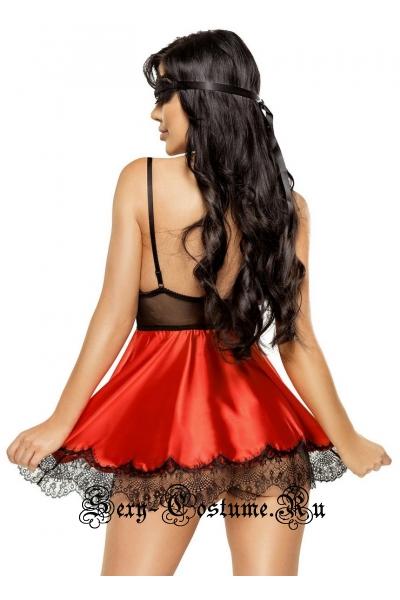 Сорочка красная с трусиками и маской на глаза beauty night eve chemise red