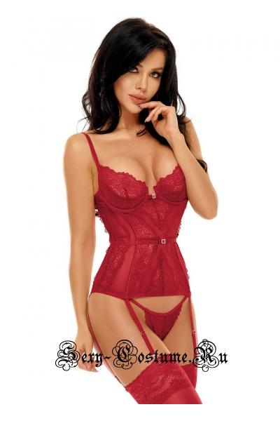 Корсет красный из кружева и тюля beauty night ravenna corset