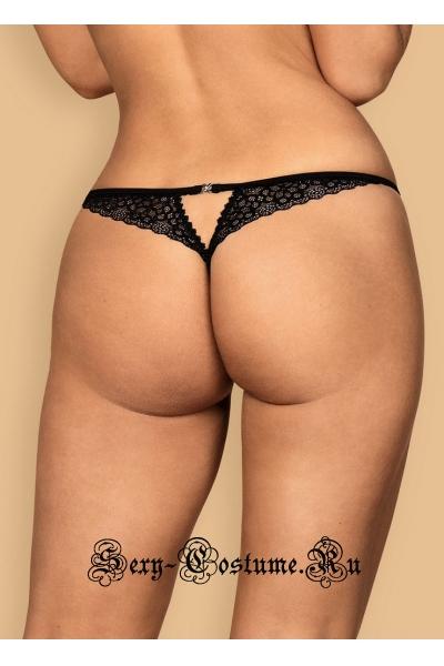 Трусы стринги черные комфорт ношения obsessive liferia thong crotchless
