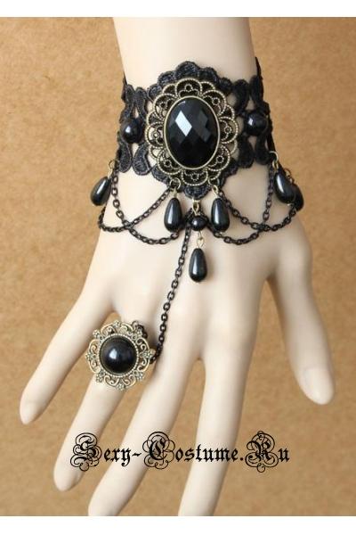 Черное украшение на руку с колечком m18172