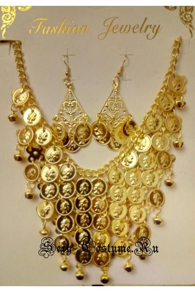 Украшение на шею с сережками золотистый lu1088