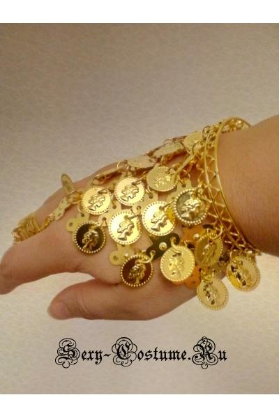 Украшение на руку мелкие монетки золотистые браслет lu1087