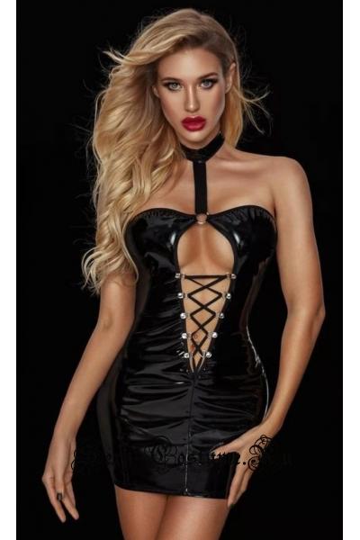 Черное виниловое платье с прозрачными вставками nightks lu7538