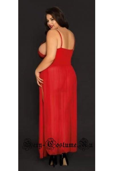 Длинная красная сорочка с виниловой вставкой nightks lu81139