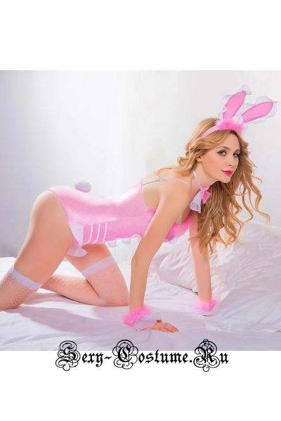 Розовая зайка playboy с виниловыми вкраплениями nightks lu6121
