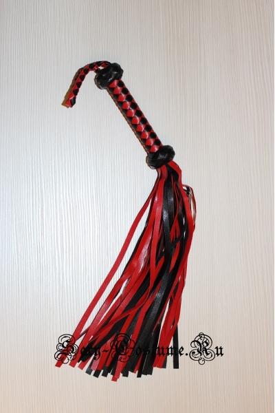 Черно-красная плетка кожзам бдсм 48см lu2301