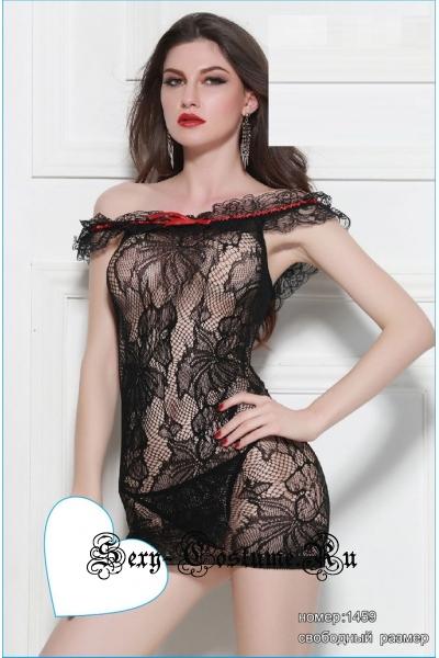 Капроновое платье черное рисунок nightks lu1459