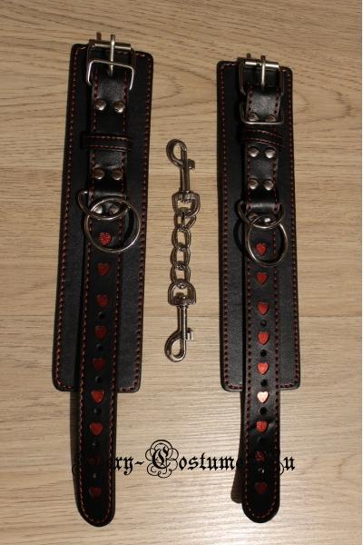 Черные наручники регулируемые с сердечками nightks lu1010-2