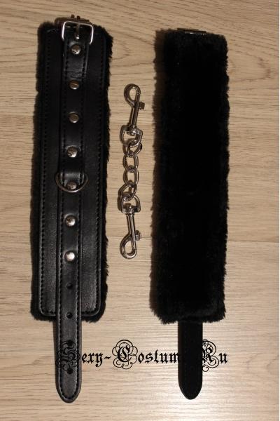 Черные наручники с меховой основой nightks lu1011-2