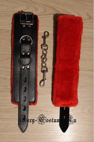 Черные наручники с меховой красной основой nightks lu1012