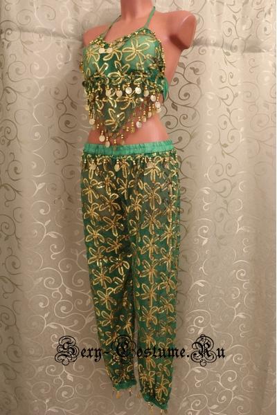 Восточная танцовщица зеленая брючная lu800-80