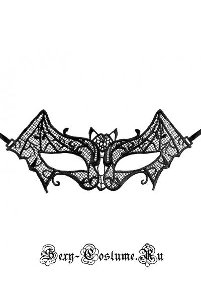 Черная тканевая маска на лицо летучая мышь m11763