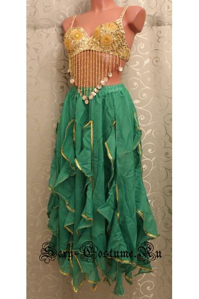 Восточная танцовщица зеленая в паетках лиф lu1015-60
