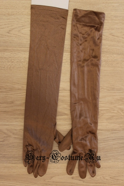 Коричневые атласные перчатки 42см пониже локоть p-001