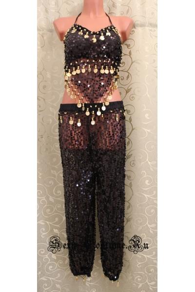 Черная восточная танцовщица монетки паетки lu900-2