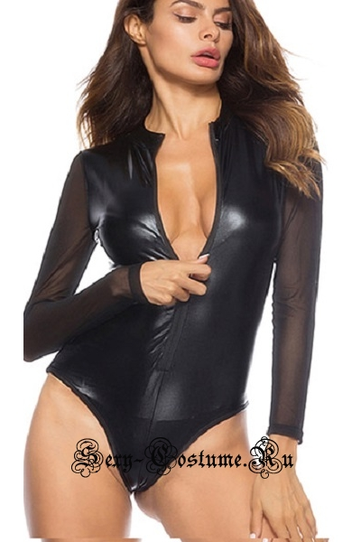 Черное виниловое боди с прозрачными рукавами w1224