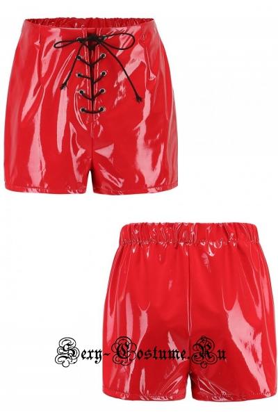 Виниловые шортики красные шнуровка w0043b