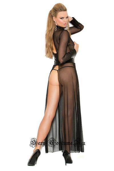 Прозрачное платье с виниловыми вставками w0704