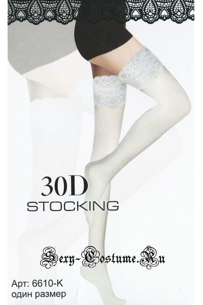 Белые гладкие чулки на силиконе 30d nightks lu6610