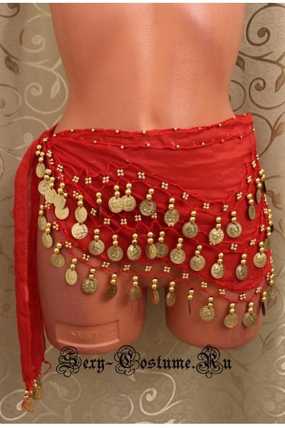Пояс платок для восточных танцев с монетками красный lu0307-1