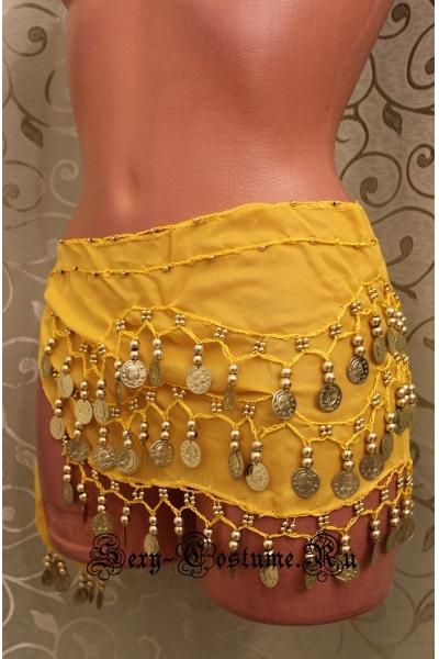 Пояс платок для восточных танцев с монетками желтый lu0307-2