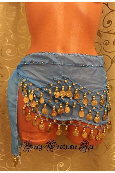 Пояс платок для восточных танцев с монетками голубой lu0307-3