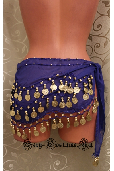 Пояс платок для восточных танцев с монетками темно-синий lu0307-4