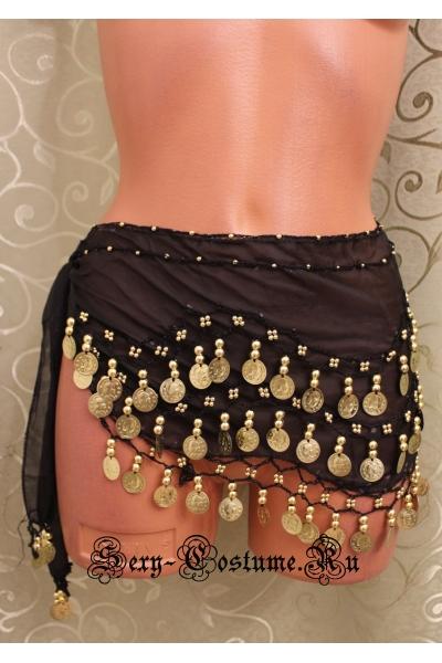 Пояс платок для восточных танцев с монетками черный lu0307-5