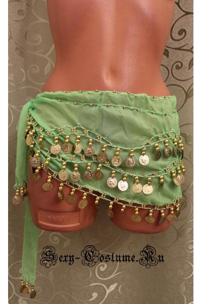 Пояс платок для восточных танцев с монетками светло-зеленый lu0307-7