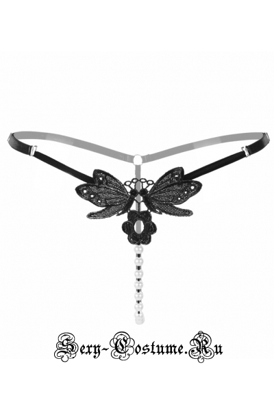Черные трусики-стринги с бусинками бабочка nightks lu2146