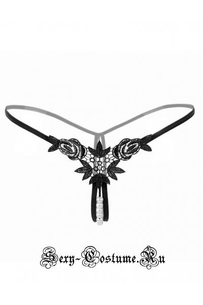 Черные трусики-стринги на резинке с бусинками nightks lu2145