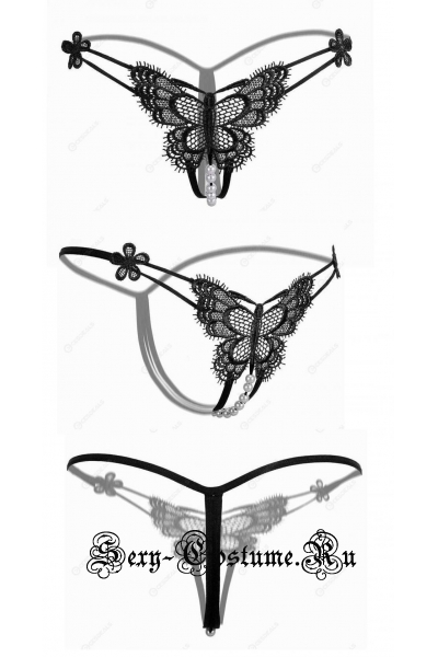 Черные трусики-стринги на резинке с бусинками бабочка nightks lu2201