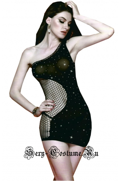 Черное капроновое платье в стразиках nightks lu6373