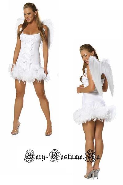 Белый ангел с перьями + перьевые белые крылья китай ан13