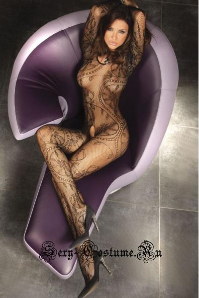 Боди-комбинезон черный в мелкую сеточку с цветочным рисунком и длинным рукавом livia corsetti abra