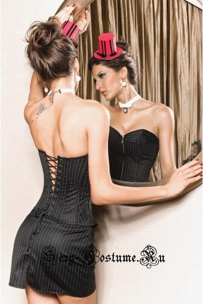 Секретарь корсетный костюм корсет черный в полоску m2169