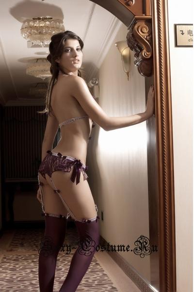 Секси ретро боди + чулки темно-фиолетового цвета n1063