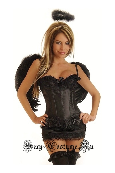 Ангел карнавальный костюм корсет черный + юбочка + аксессуары + крылья d6205-15