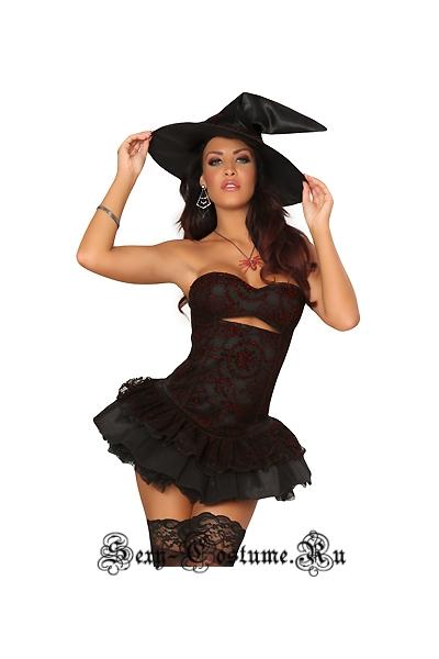 Ведьма корсетный костюм корсет черный + остальное n8634