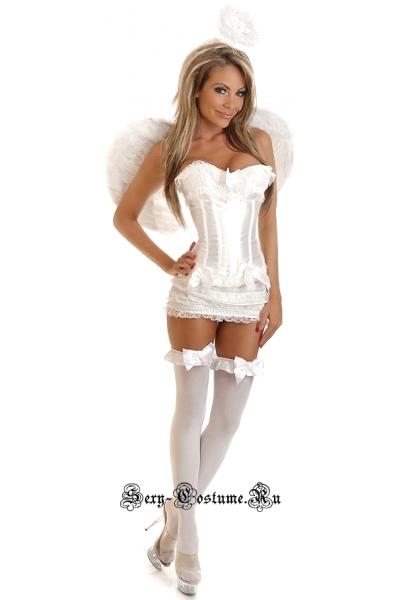 Корсетный ангел корсет белый + перьевые крылья d6205-16