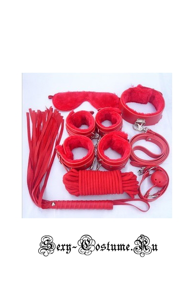 Красный комплект бдсм из 8 предметов m4876
