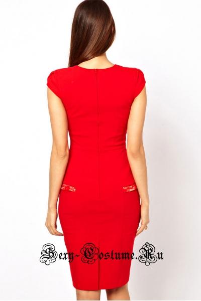 Красное платье клубное с белым n6159