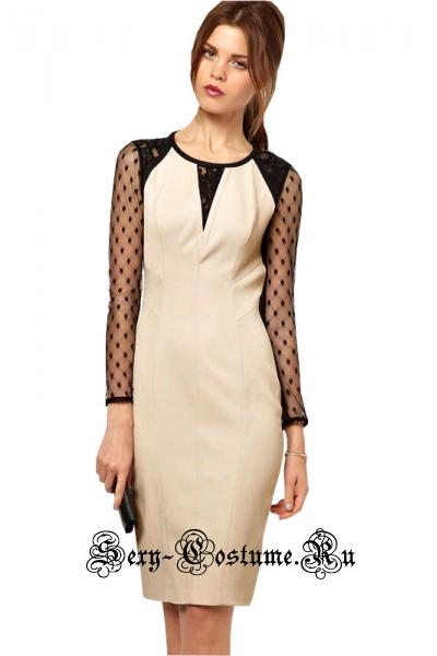 Белое платье клубное с черными полупрозрачными элементами n6213