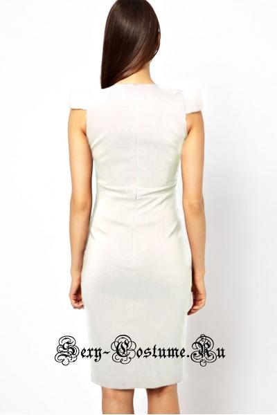 Белое платье клубное с  вырезом спереди n6228