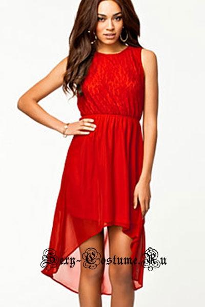 Красное платье асимметричное n6263