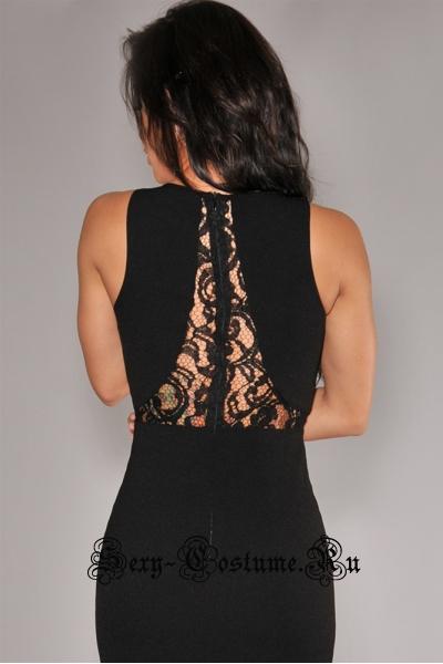 Черное платье клубное длинное с полупрозрачными вставками n6373