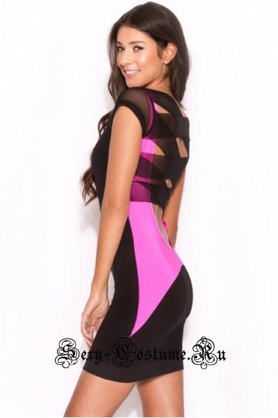 Черно-фиолетовое платье с полупрозрачными лентами сзади n21364