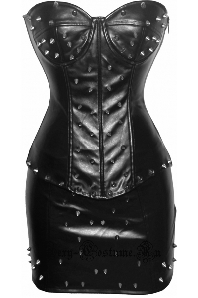 Экокожа черный комплект с шипами корсет +  юбка уценка m5915