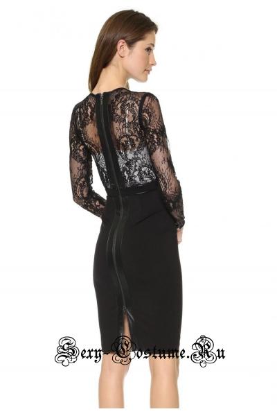 Черное клубное платье с полупрозрачным верхом n6576
